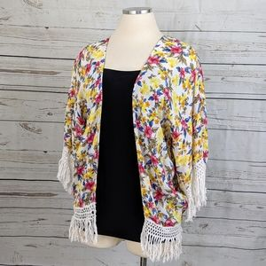 EUC ~ ZARA Trafaluc Fringe 3/4 Sleeves Kimono